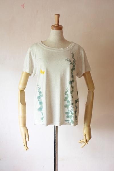 ユーカリ 麻の半袖Tシャツ