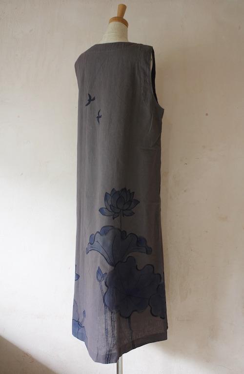 藍蓮 濃色ノースリーブロングワンピース 大