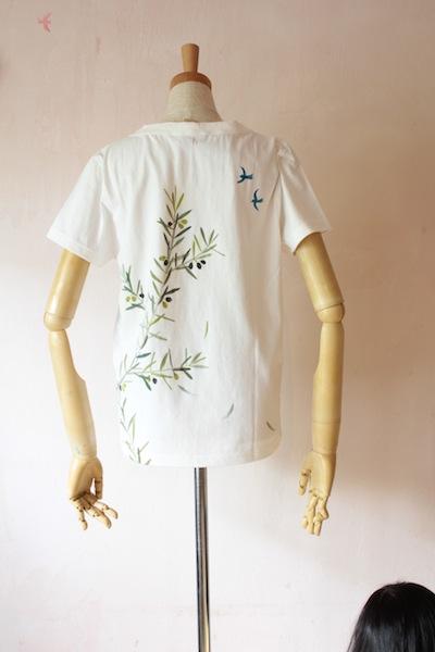 オリーブ 綿半袖Tシャツ