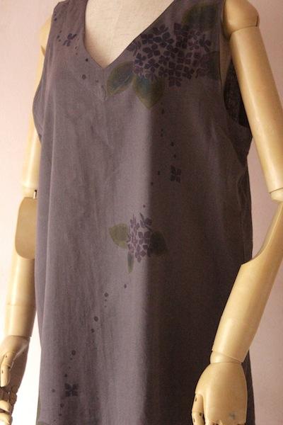 紫陽花 濃色ノースリーブワンピース 大