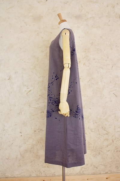 藍乱菊 ノースリーブロングワンピース 濃色 小