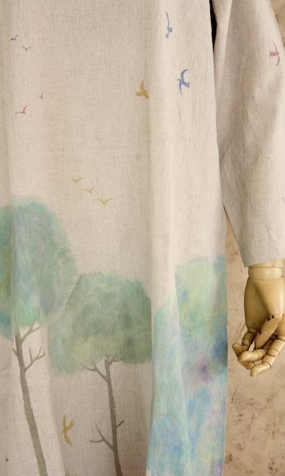 鳥と木 長袖ゆるワンピ 小