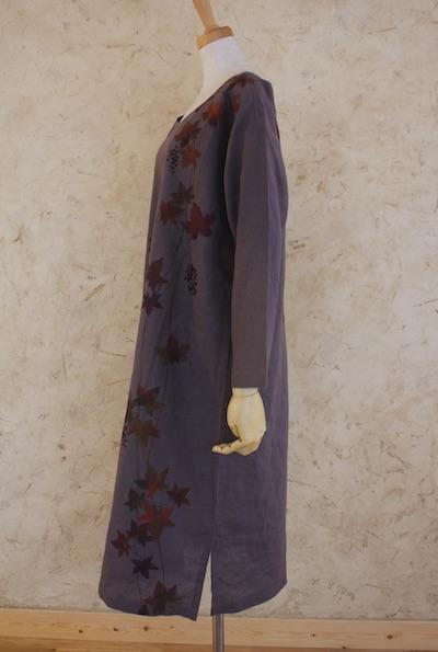 蔦と実 長袖ゆるワンピ 濃色 中